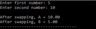 swapping of two numbers